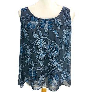 Ann Taylor Loft Blouse Blue Paisley Sheer Overlay